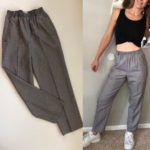 Vintage plaid high waist pants
